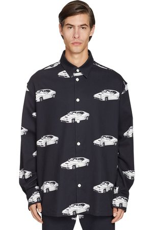 VERSACE Oversize Car Printed Cotton Denim Shirt
