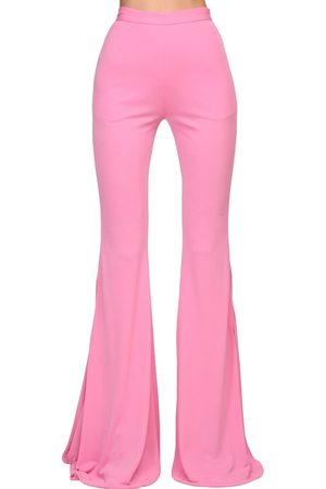Balmain Women Wide Leg Pants - High Waist Flared Jersey Pants