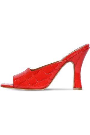 PARIS TEXAS Women Mules - 90mm Croc Embossed Leather Mule Sandals