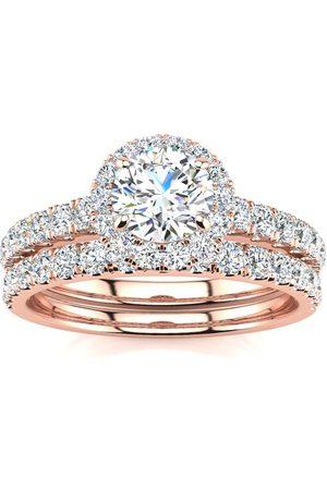 SuperJeweler 1 Carat Floating Pave Halo Diamond Bridal Engagement Ring Set in 14k (5.5 g) (