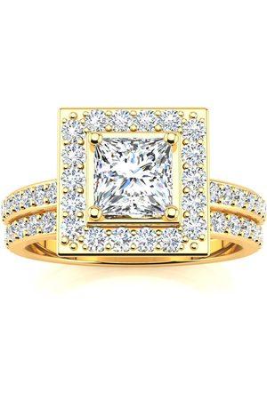 SuperJeweler Women Rings - 2 Carat Princess Cut Halo Diamond Bridal Engagement Ring Set in 14k (7 g) (