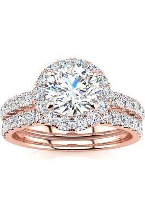 SuperJeweler 2 Carat Round Cut Diamond Bridal Engagement Ring Set w/ 1 Carat Center Diamond in 14k (7 g) (