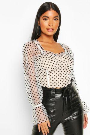 Boohoo Womens Petite Puff Sleeve Spot Mesh Crop Top - - 2