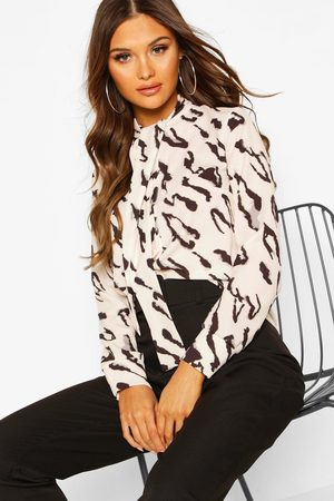 Boohoo Womens Woven Animal Print Pussy Bow Blouse - - 4