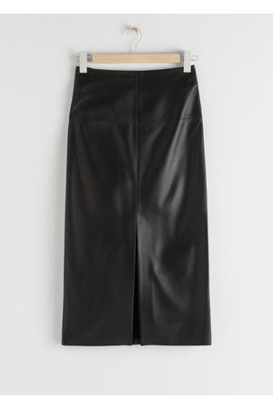 & OTHER STORIES Side Slit Leather Midi Skirt