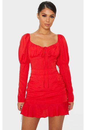 PRETTYLITTLETHING Puff Shoulder Tie Bust Frill Hem Bodycon Dress