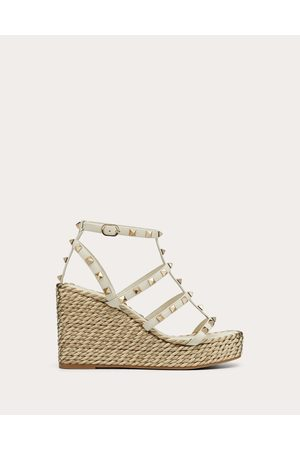 VALENTINO GARAVANI Women Wedges - Rockstud Calfskin Wedge Sandal With Straps 95 Mm Women Light Ivory Calfskin 100% 35