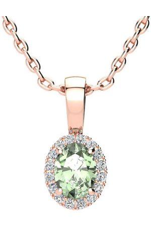 SuperJeweler Women Necklaces - 1/2 Carat Oval Shape Green Amethyst & Halo Diamond Necklace in w/ 18 Inch Chain