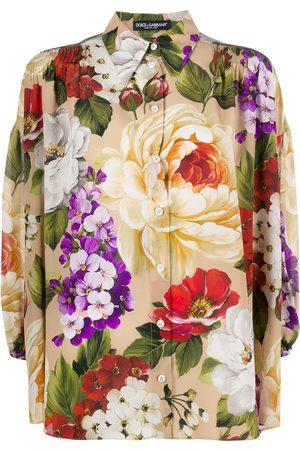 Dolce & Gabbana Silk loose fit floral shirt - Neutrals