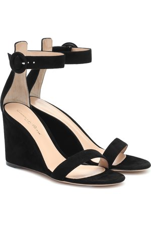 Gianvito Rossi Portofino suede wedge sandals