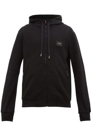 Dolce & Gabbana Leather-logo Plaque Cotton Hooded Sweatshirt - Mens