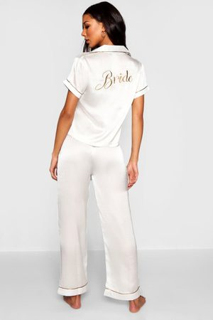 Boohoo Womens Bride Embroidered Pj'S - - 2