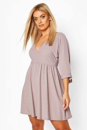 Boohoo Womens Plus Tie Sleeve Wrap Smock Dress - - 12