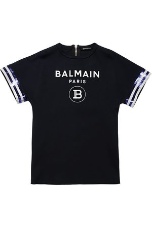 Balmain Logo Printed Cotton Jersey Dress
