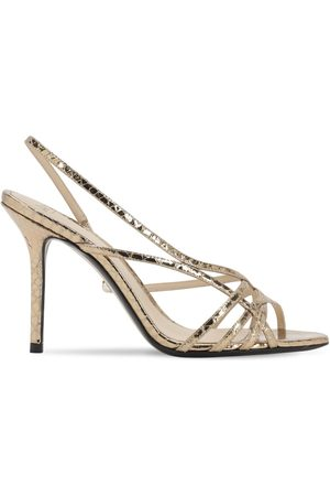 Alevì 90mm Embossed Metallic Leather Sandals