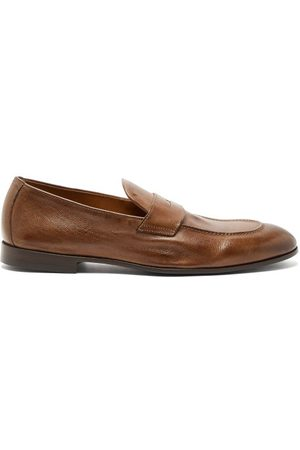 Brunello Cucinelli Men Loafers - Vintage Leather Penny Loafers - Mens - Dark