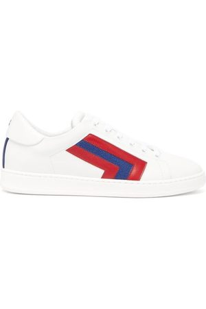 VALEXTRA Super 3 Striped Leather Trainers - Womens - Multi