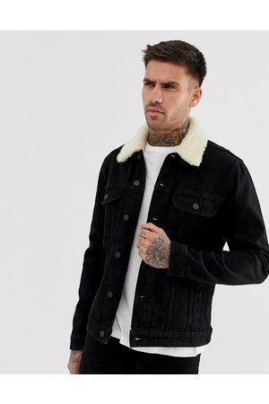 ASOS Denim jacket with detachable fleece collar in