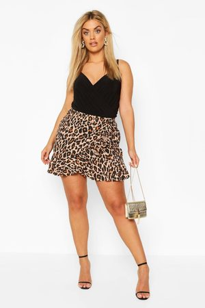 Boohoo Womens Plus Leopard Print Ruffle Skater Skirt - - 12
