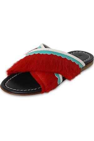Marni Leather Slide Sandals W/ Fringes