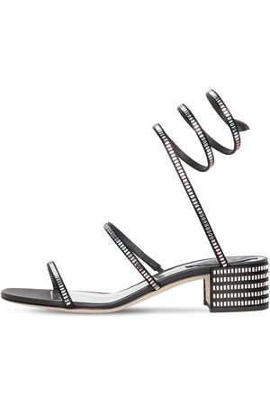 RENÉ CAOVILLA 40mm Snake Embellished Satin Sandals