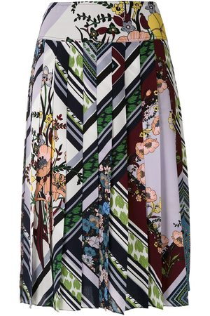 Tory Burch Printed Pleated Skirt - Multicolour