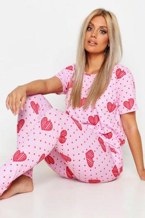 Boohoo Womens Plus Heart Spot Print Lounge Set - - 12