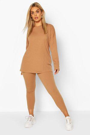 Boohoo Womens Plus Oversized Rib Top & Legging Two-Piece - - 24