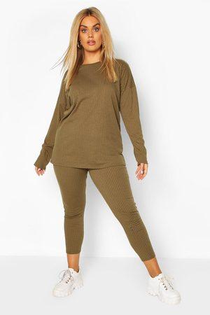 Boohoo Womens Plus Oversized Rib Top & Legging Co-ord - - 12