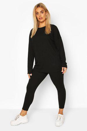 Boohoo Womens Plus Oversized Rib Top & Legging Two-Piece - - 18