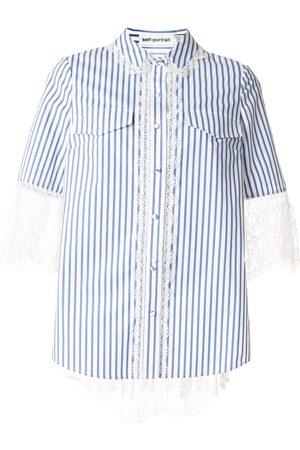 Self-Portrait Striped print lace trim shirt