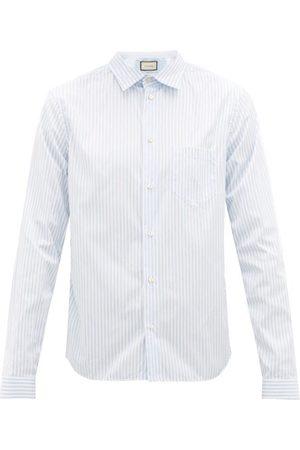 Gucci Striped Cotton-poplin College Shirt - Mens - Light