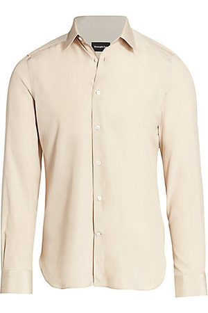 Ermenegildo Zegna Men's Silk & Cotton Shirt - - Size 44 (17.5) R