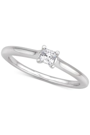 Macy's Certified Diamond Princess Solitaire Engagement Ring (1/4 ct. t.w.) in 14k