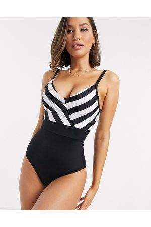 Pour Moi High Line v neck control swimsuit in and white