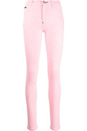 Philipp Plein Women Leggings - High-rise crystal-embellished jeggings