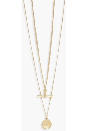 Boohoo Womens T-Bar Double Layer Necklace - - One Size
