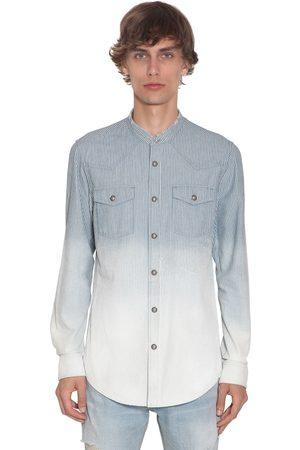 Balmain Degrade Stripe Dyed Cotton Denim Shirt