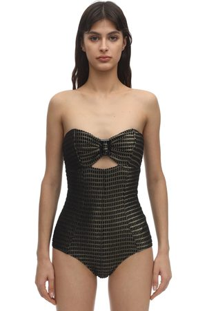 Lisa Marie Fernandez Strapless Buckle Jacquard Swimsuit