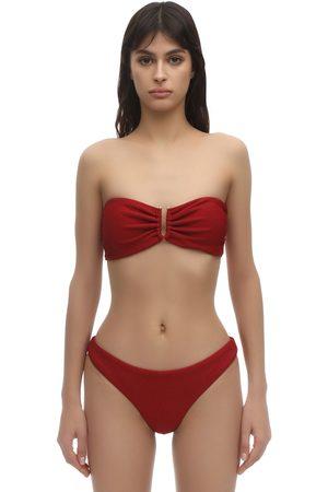Self-Portrait Seersucker Bandeau Bikini Top