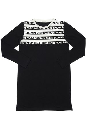 Balmain Striped Logo Cotton Interlock Dress