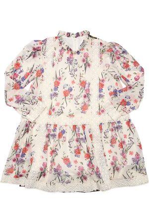 Alberta Ferretti Girls Printed Dresses - Flowers Print Crepe De Chine Dress