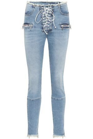UNRAVEL High-rise lace-up skinny jeans