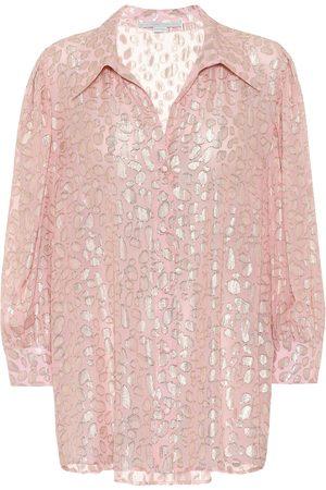 Stella McCartney Silk-blend leopard-fil coupé blouse