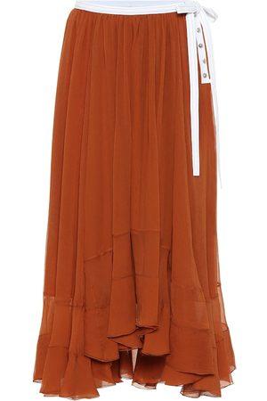 Chloé Tiered silk-chiffon midi skirt