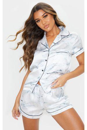 PRETTYLITTLETHING Women Pajamas - Marble Satin Short Pj Set