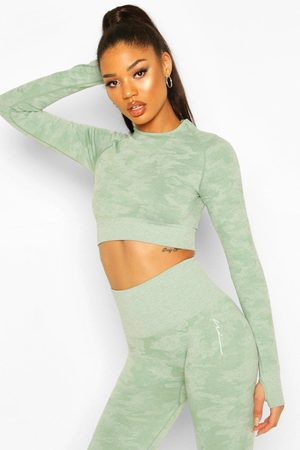 Boohoo Womens Fit Camo Contouring Seamless Long Sleeve Crop - - S