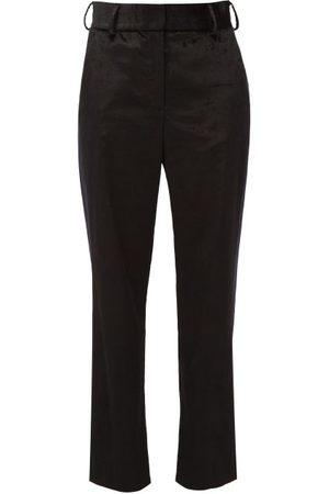 Sies marjan Sonya Satin-stripe Velvet Trousers - Womens