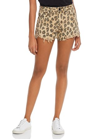 Blanknyc Leopard Print Denim Shorts in Stubborn