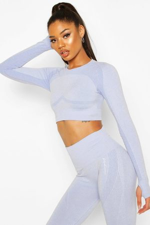 Boohoo Womens Fit Contouring Seamless Long Sleeve Crop Top - - S